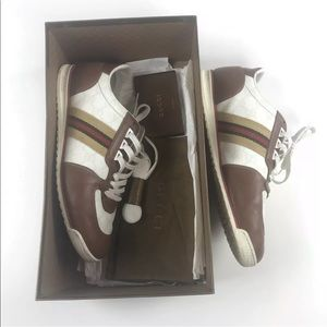 Gucci Leather Sneakers with Web and Original Box